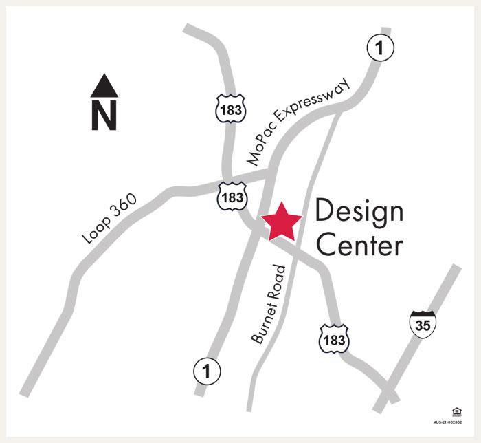 David Weekley Homes Design Center map for Austin, TX