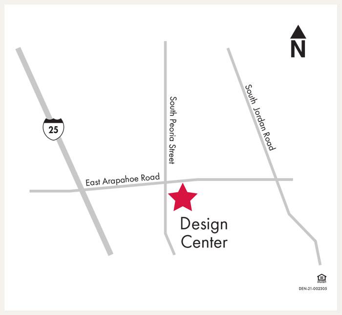 David Weekley Homes Design Center map for Denver, CO