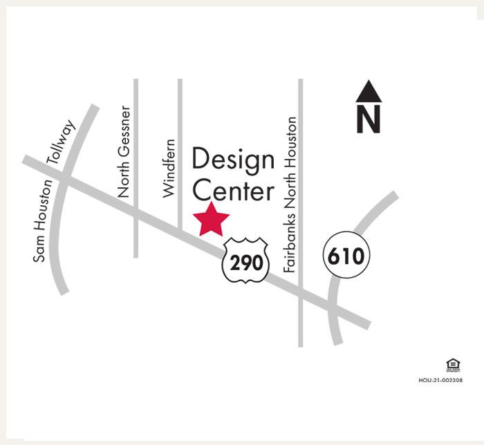 David Weekley Homes Design Center map for Houston, TX