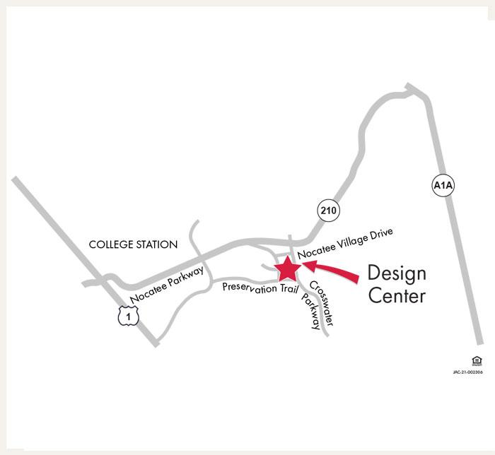 David Weekley Homes Design Center map for Jacksonville, FL