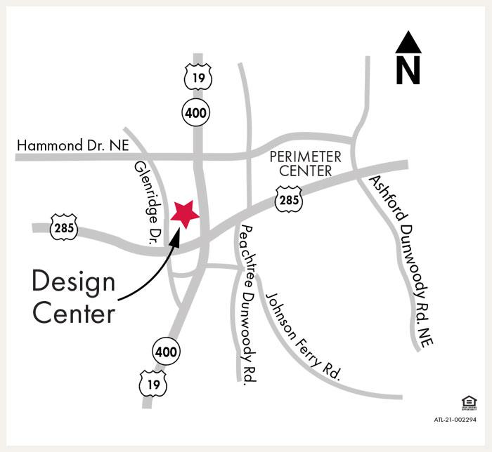 David Weekley Homes Design Center map for Atlanta, GA