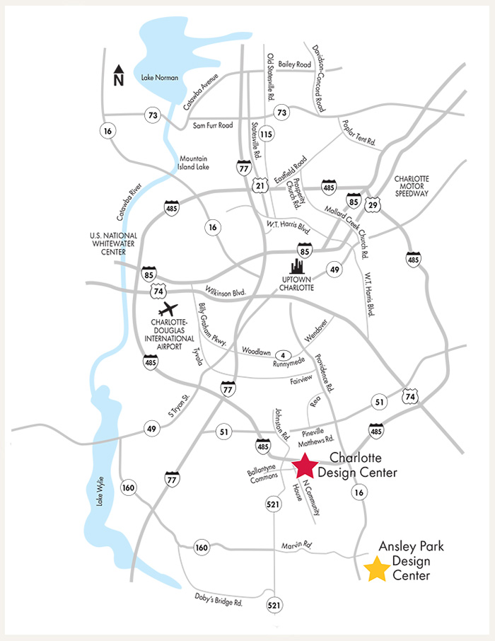 David Weekley Homes Design Center map for Charlotte, NC
