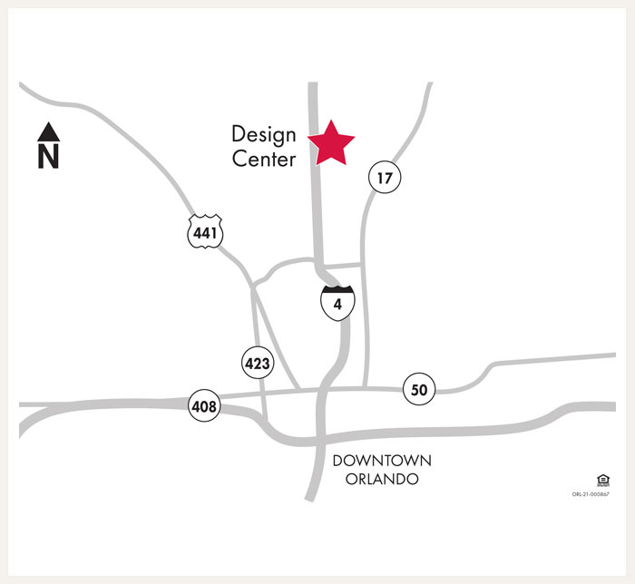 David Weekley Homes Design Center map for Orlando, FL