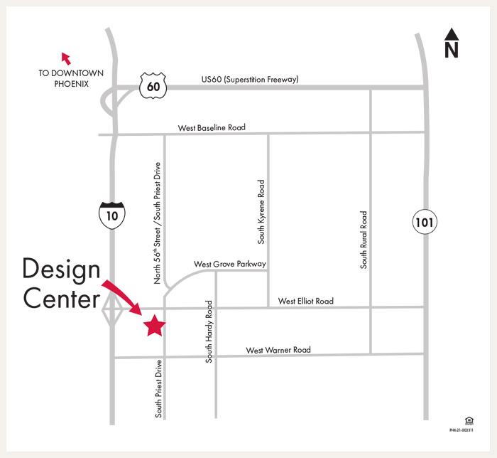 David Weekley Homes Design Center map for Phoenix, AZ