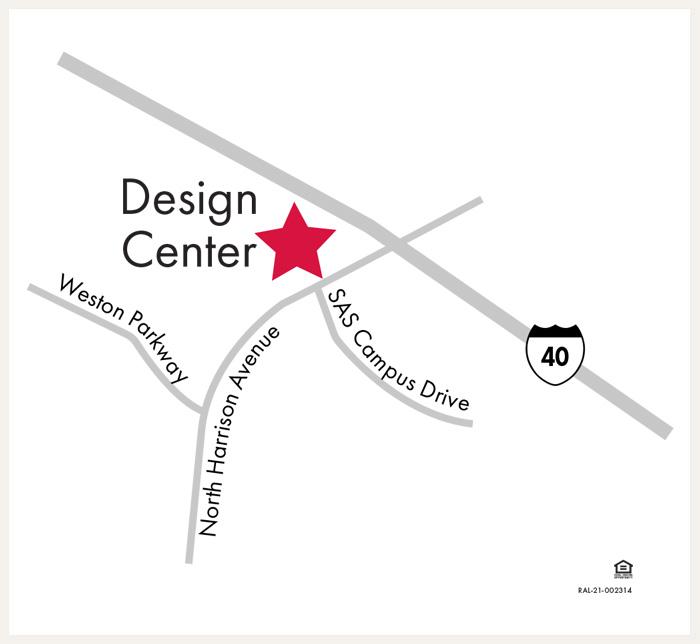 David Weekley Homes Design Center map for Raleigh, Durham, Chapel Hill, NC