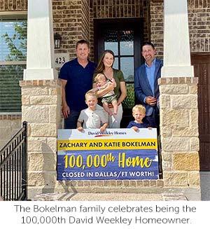 David Weekley Homes 100,000th Homeowner