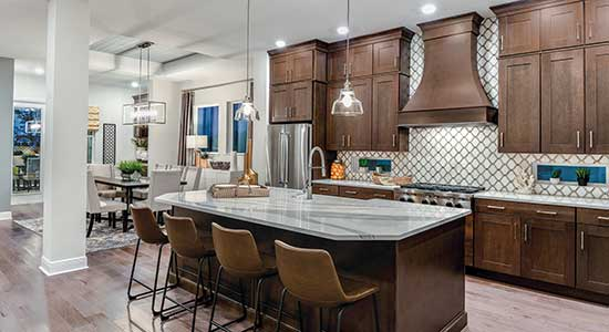 Kitchen and Dining area of The Grenada floor plan in Tampa, FL