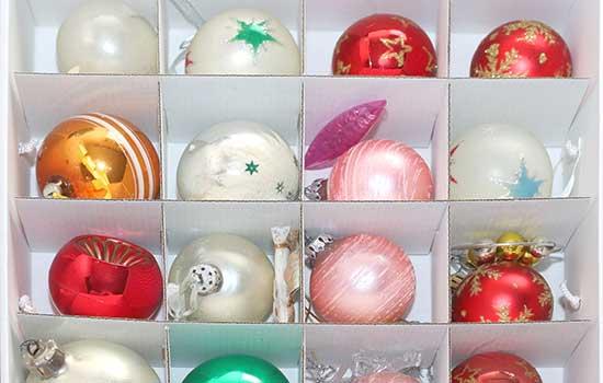 Christmas ornaments in ornament storage box